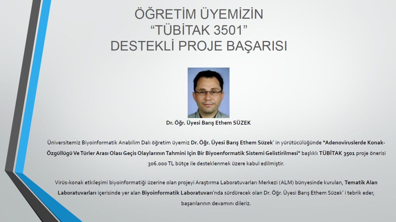 """Öğretim Üyemizin """"TÜBİTAK 3501"""" Destekli Proje Başarısı"""